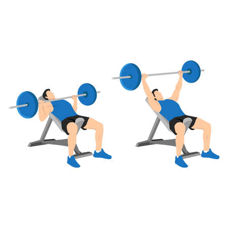 Incline barbell bench press exercise. Flat vector illustration isolated on white background. Workout character 矢量图像