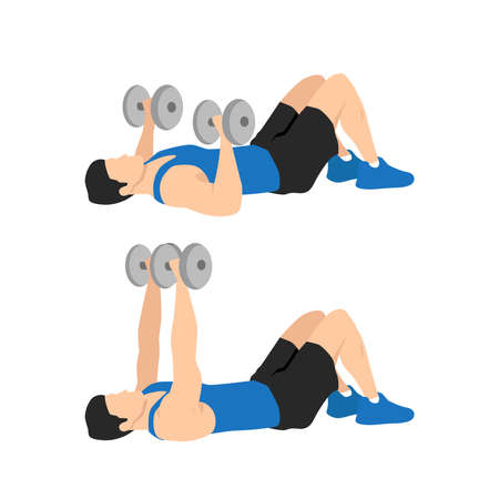 Dumbbell floor chest press exercise. Flat vector illustration isolated on white background. Workout character Vecteurs