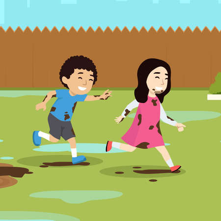 Vector Illustration Of Kids Playing In Mud flat vector illustration on a park or garden