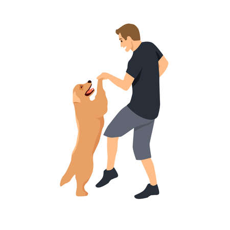man dancing with his cute golden retriever dog flat vector illustration isolated on white background