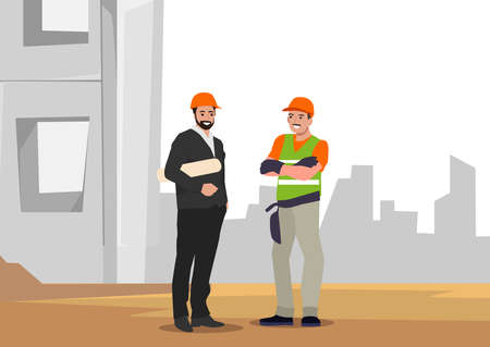 Engineering and construction workers standing together vector illustration. Construction team site plans. Architects and builders standing in safety helmets at construction site.