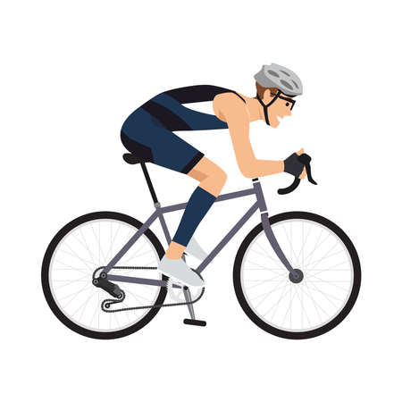 A Young man is cycling a bicycle. Sports activity. Athlete is riding a bike. Vector flat style illustration