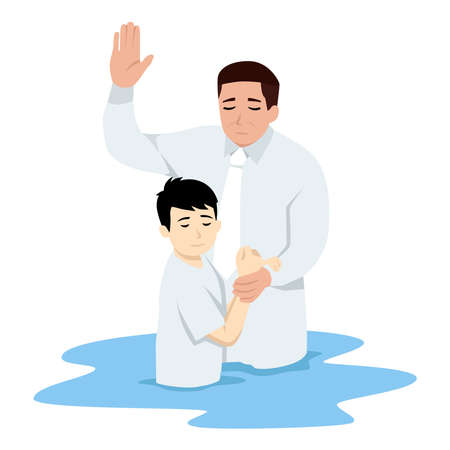 Illustration of an asian kid Being Baptized in Water. Flat vector illustration isolated on white background