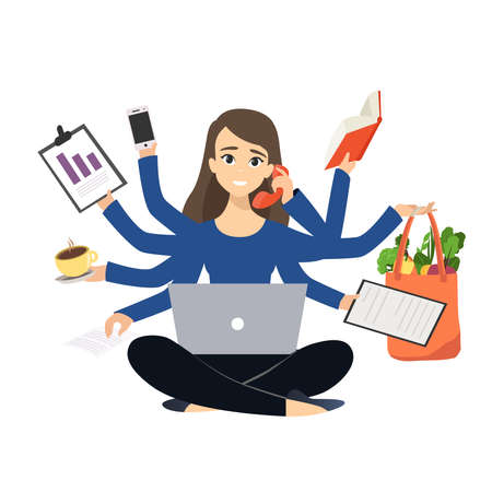 Woman working very hard, multitasking woman with many stuff to do flat vector illustration isolated on white background