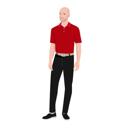 Bald professional businessman wearing red golf shirt character flat vector illustration isolated on white background