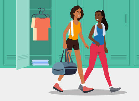 Women going to the gym while talking in the locker room holding a gym bag flat vector illustration
