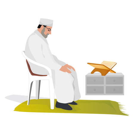 Elder Muslim man praying at home sitting on a chair