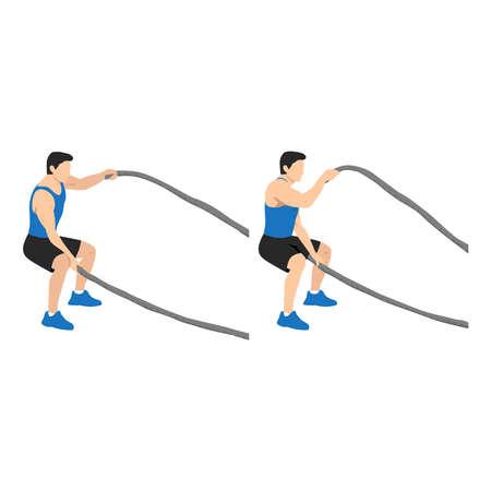 Man doing battle rope squatting alternating waves flat vector illustration isolated on white background