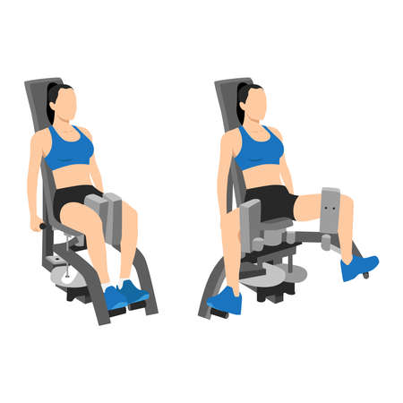 Woman doing exercise using Adduction inner thigh machine. Adductor. Abductor flat vector illustration isolated on white background