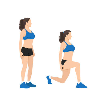 Woman doing body weight walking lunges flat vector illustration isolated on white background