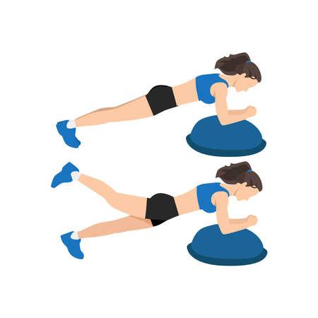 Woman doing Bosu ball plank leg lift exercise flat vector illustration isolated on white background Vecteurs