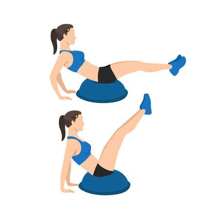 Woman doing Bosu ball v-ups exercise flat vector illustration isolated on white background