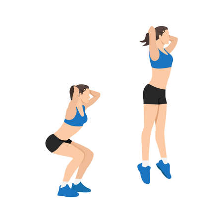 Woman doing Jump squats exercise flat vector illustration isolated on white background