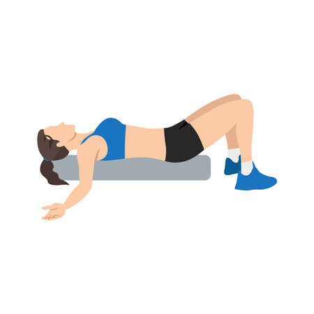 Woman doing Foam roller chest opener stretch exercise. Flat vector illustration isolated on white background