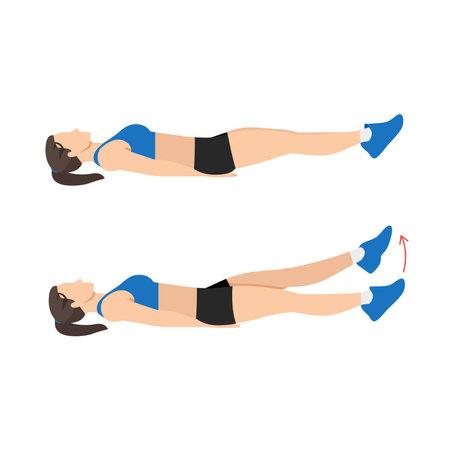 Woman doing Flutter kicks exercise. Flat vector illustration isolated on white background Vektorové ilustrace