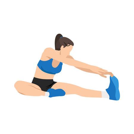 Woman doing Hamstring stretch exercise. Flat vector illustration isolated on white background Vektorgrafik