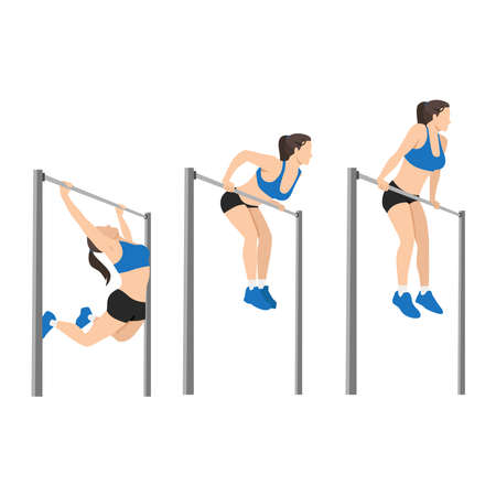 Woman doing Muscle up on bar calisthenics movement : Layered Vector Illustration - Easy to Edit