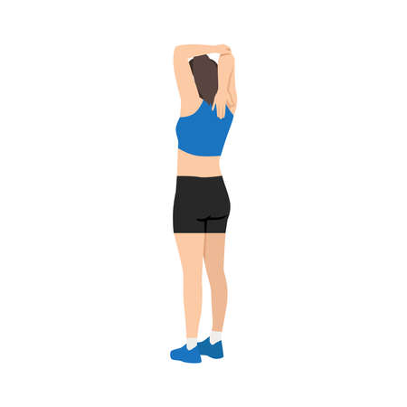 Woman doing Triceps stretch exercise. Flat vector illustration isolated on white background Vektorgrafik