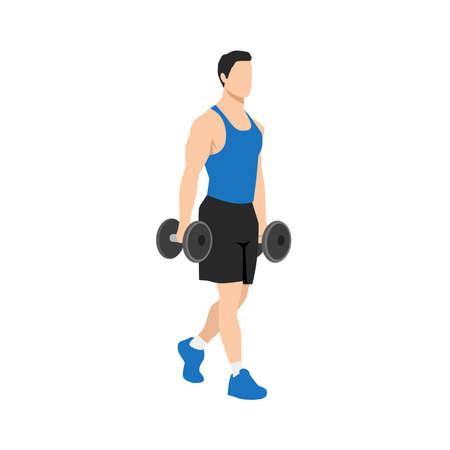 Man doing Farmers walk. carry exercise. Flat vector illustration isolated on white background Vektorové ilustrace