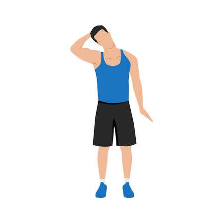 Man doing neck stretch exercise. Flat vector illustration isolated on white background Vektoros illusztráció