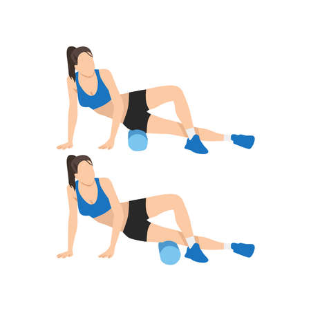 Woman doing Foam roller outer thighs stretch exercise. Flat vector illustration isolated on white background Vecteurs