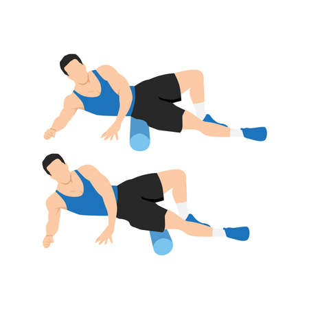 Man doing Foam roller outer thighs stretch exercise. Flat vector illustration isolated on white background