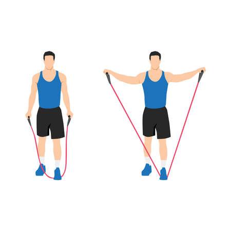 Man doing Resistance band lateral raises. Side raises exercise. Flat vector illustration isolated on white background