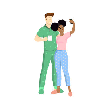 Happy couple are take selfie wearing pajama. Man and woman are photographed together. Vector illustration in a flat style