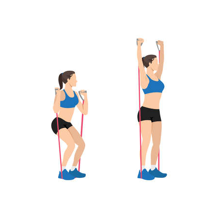 Woman doing Resistance band Squat and overhead press exercise. Flat vector illustration isolated on white background