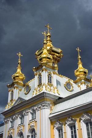 ntilde: Petrodvorets, &ntilde,hurch domes on the sun Stock Photo