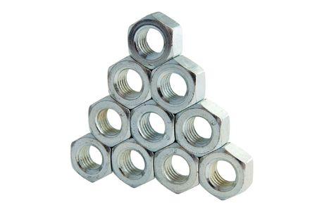 Pyramid from hexagonal nuts