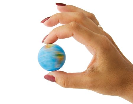 The rotating globe in a hand the woman