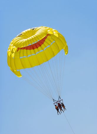 towed: Flight on parachute towed by a motor boat Stock Photo