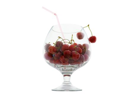 Cherries in the large glass