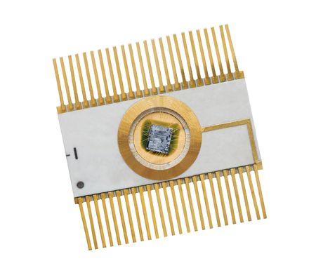 The microchip in  metallo-ceramic case Stock Photo
