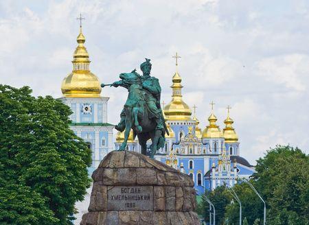 Kiev, monument Bogdan Khmelnitsky and St. Sophias Cathedral