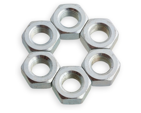 hexagonal nuts on the isolated background. XXXL. Stock Photo - 10348322