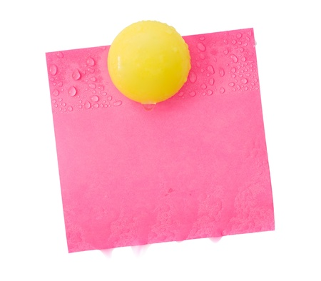 soggy: soggy sticky paper and magnetic clip Stock Photo
