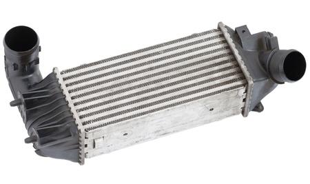 Close up of aluminum automotive intercooler. isolated on white. Stock Photo