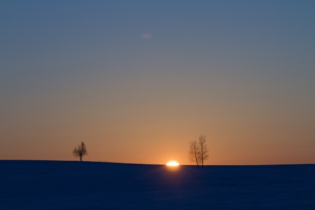 Beautiful winter landscape at sunset with snow in the Belorussia Stock Photo