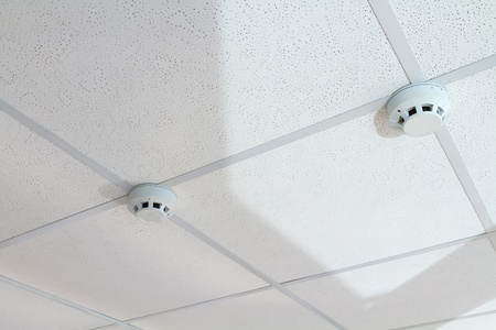 two sensor fire alarm on the ceiling.