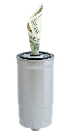 oil filter with a 100 dollar bill folded into a funnel on a white background