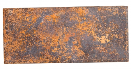 corroded: copper plate,  isolated on white background  Stock Photo