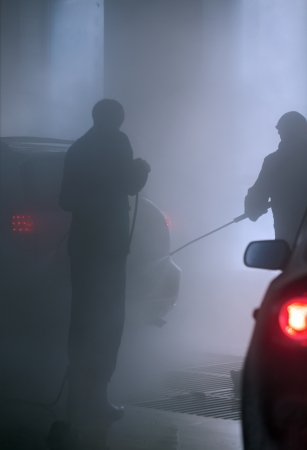 Automobile going through the car wash