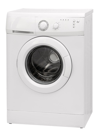Washing machine with open door isolated over a white background photo