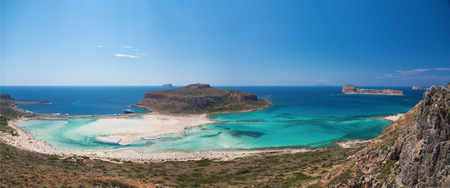 Bay Balos. The west coast of the peninsula Gramvousa. The island of Crete. Greece. Panoramic view.