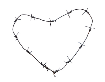 Barbed wire heart, isolated on white Stock Photo