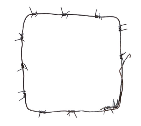 barbed wire fence: Barbed wire square, isolated on white