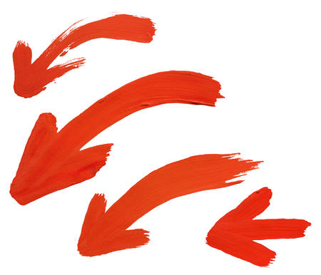 watercolor brush stroke, red arrow set, isolated on white