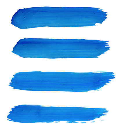 strokes of blue paint isolated on white Foto de archivo